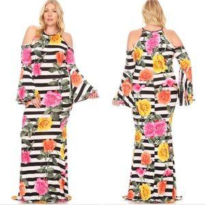 Plus Floral Striped Cold Shoulder Maxi Dress